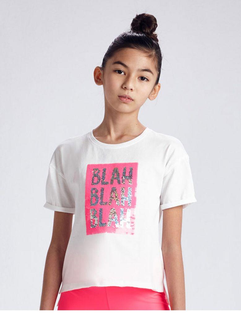 """Mayoral White """"BLah Blah Blah"""" Slogan T-shirt"""