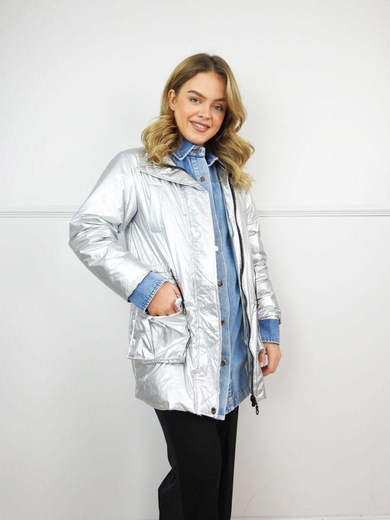 Hukka Silver and Denim Layered Coat