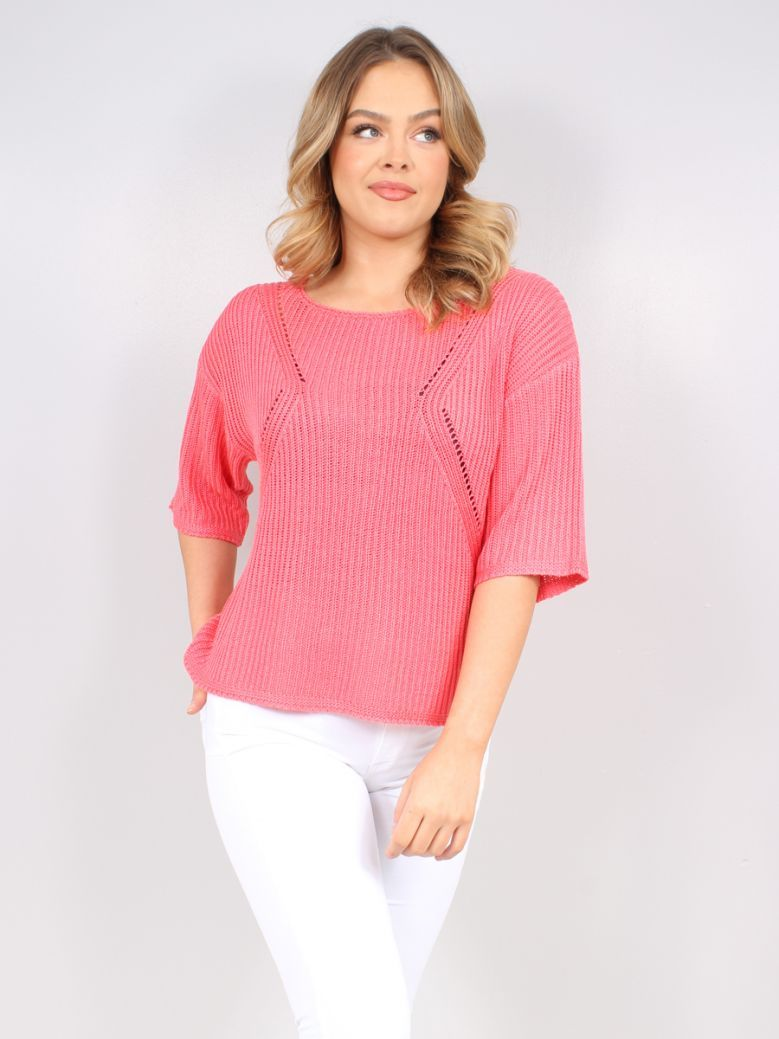 Marble Pink Fine Knit Short Sleeve Top