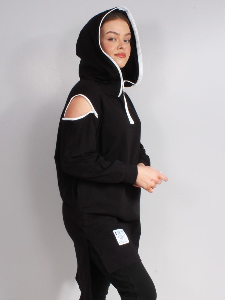 Cilento Woman Black Zip Shoulder Hoodie