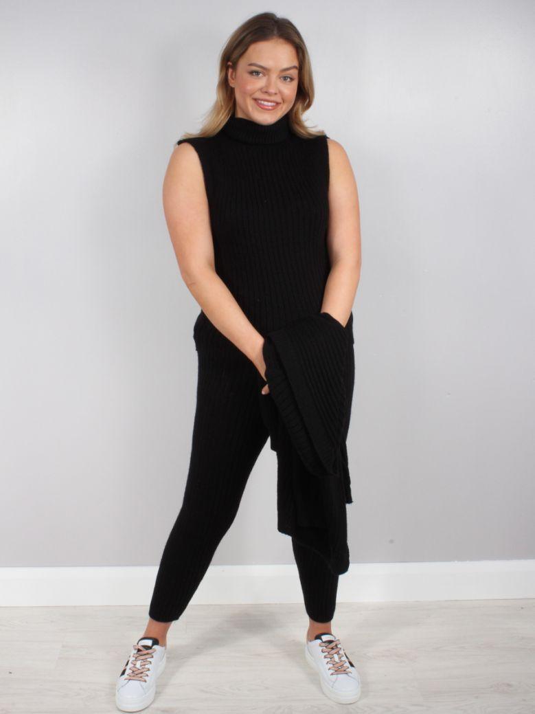 Cilento Woman Black 3 Piece Roll Neck Loungewear Set