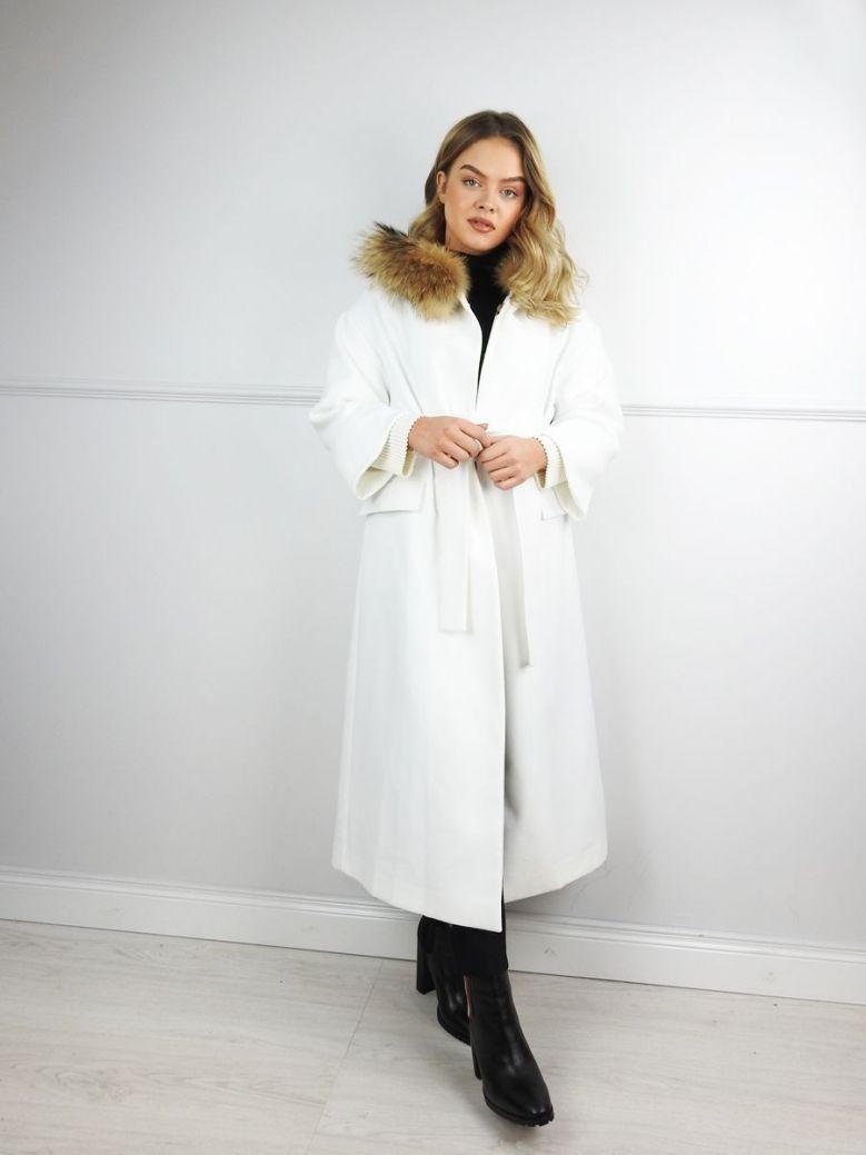 Hukka Cream Faux Fur Collar Coat