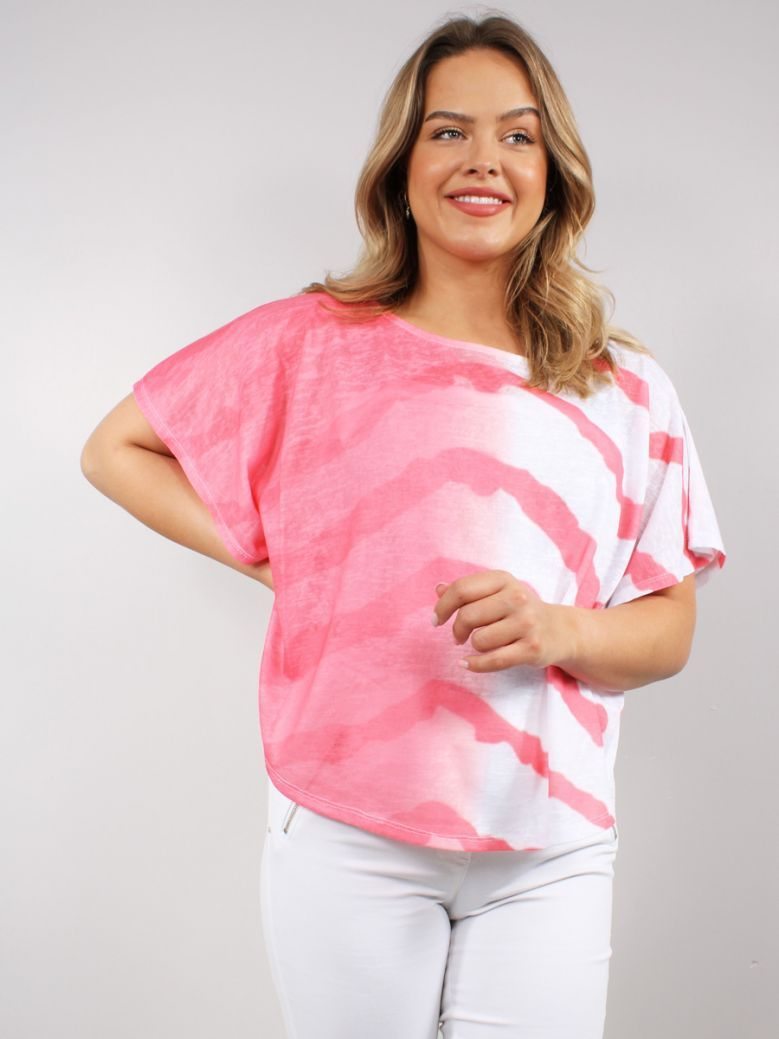 Marble Coral Pink Spray Print Top with Vest