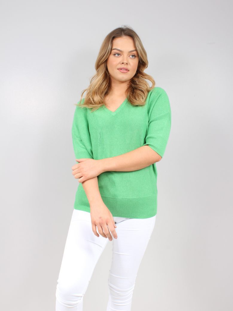 Marble Green Knitted V-Neck Sweater