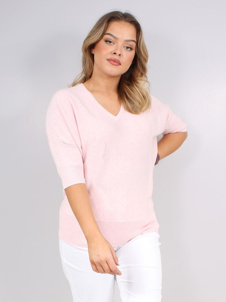 Marble Pink Knitted V-Neck Sweater