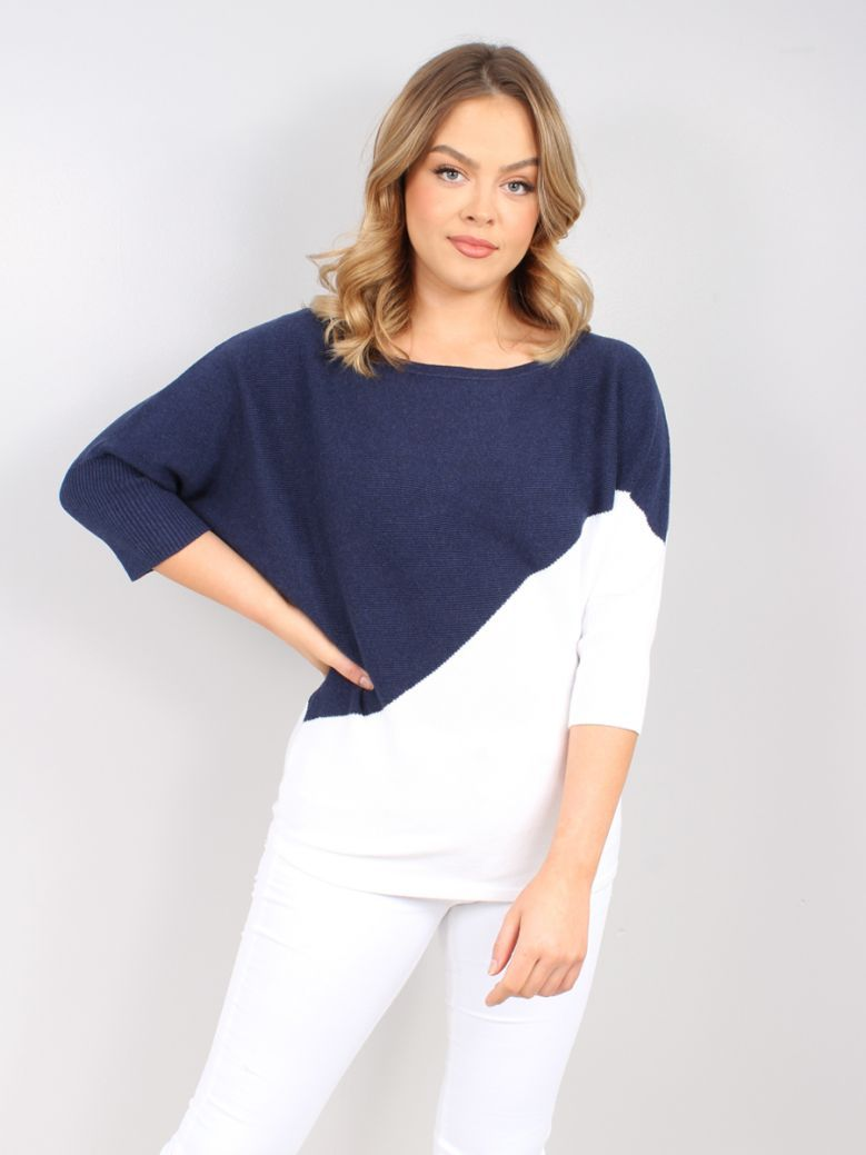 Marble Navy & White Batwing Jumper