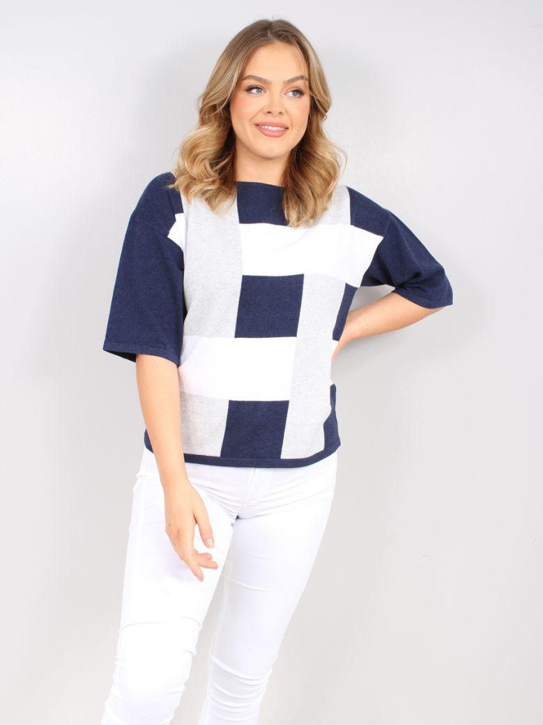 Marble Navy & White Block Print Sweater