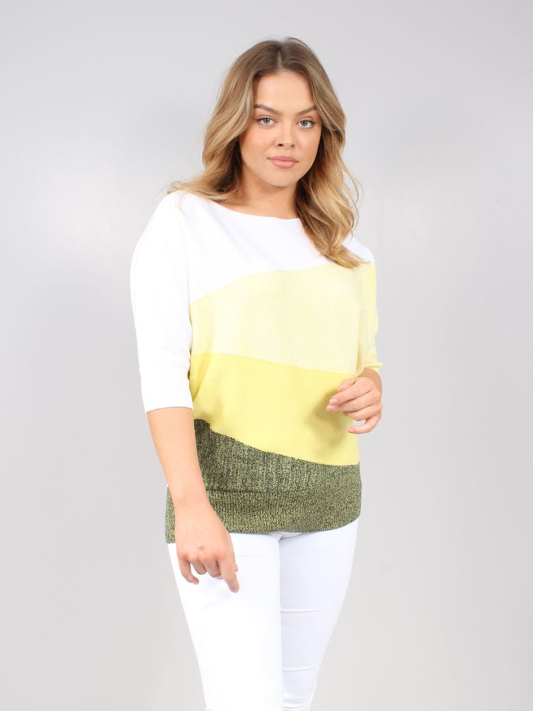 Marble Yellow Block Colour 3/4 Sleeve Jumper