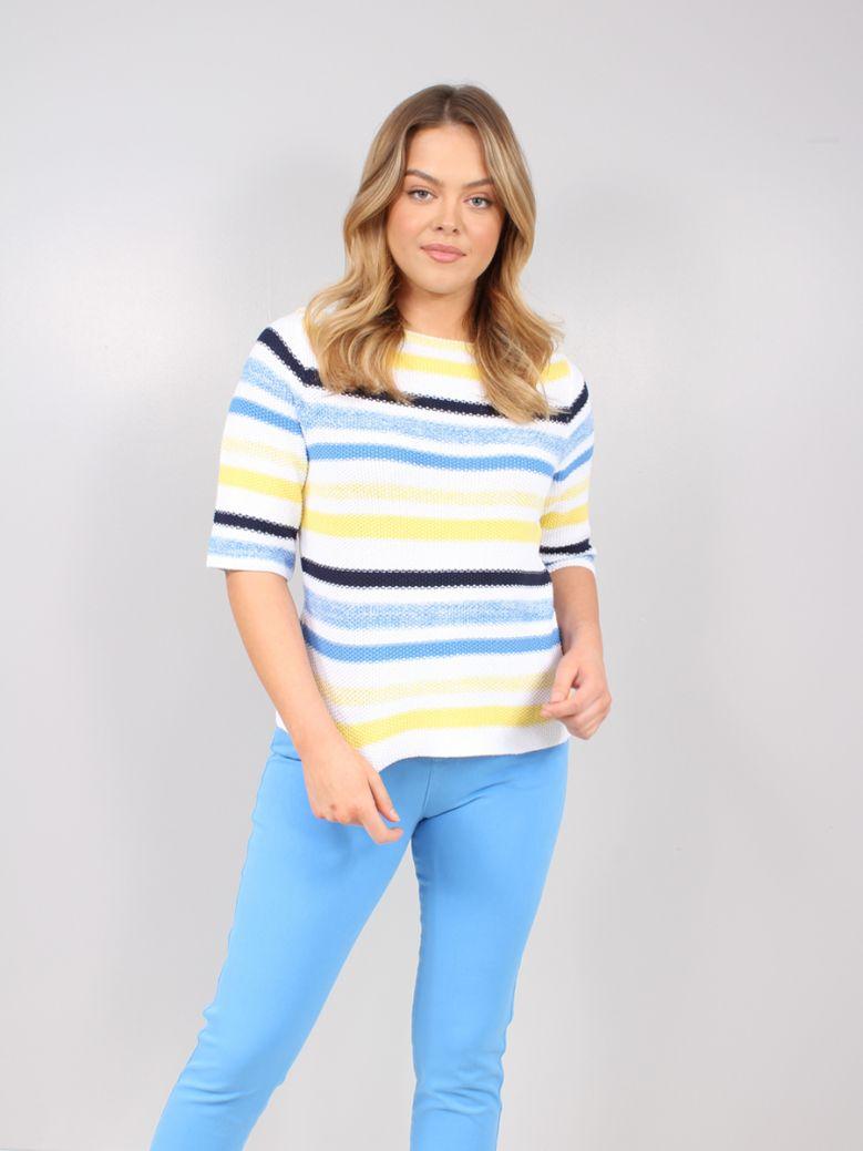 Marble White & Multicolour Stripe Knit Sweater