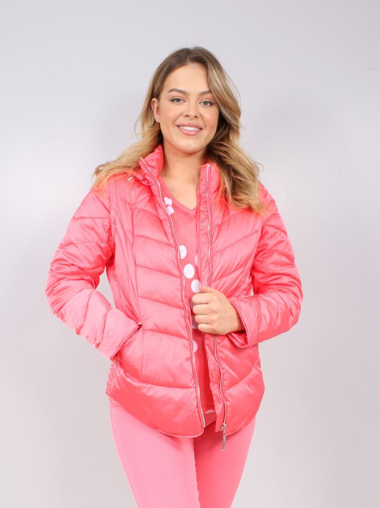 Marble Pink 2 in 1 Hooded Puffer Gilet/Jacket