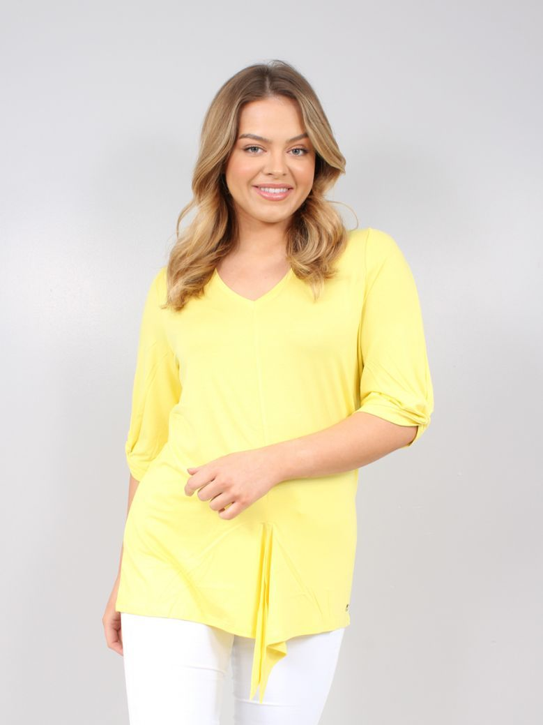 Marble Yellow V-Neck 3/4 Sleeve Top