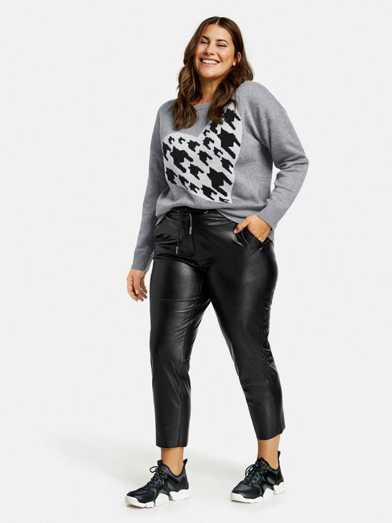 Samoon Black Greta 7/8-Length Faux Leather Joggers