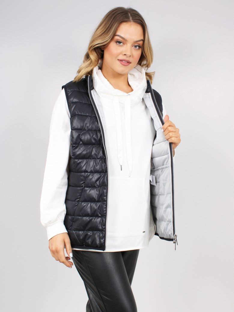 Samoon Ladies Navy Shiny Quilted Body Warmer
