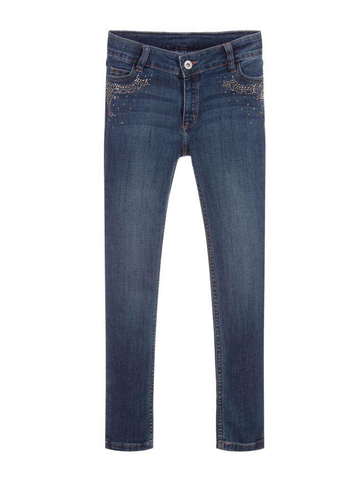 Mayoral Dark Denim Rhinestone Detail Jeans