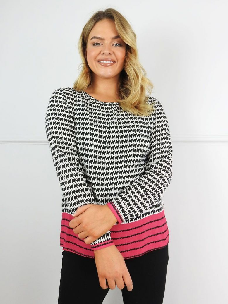 Milano Black and White Houndstooth Print Blouse