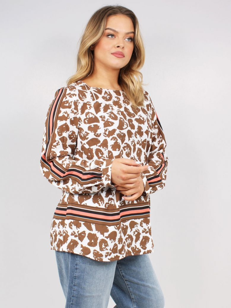 Samoon Ladies Brown Casual Blouse with a Round Neckline