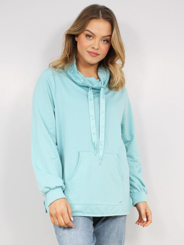 Samoon Ladies Blue Sweatshirt with Chiffon Details