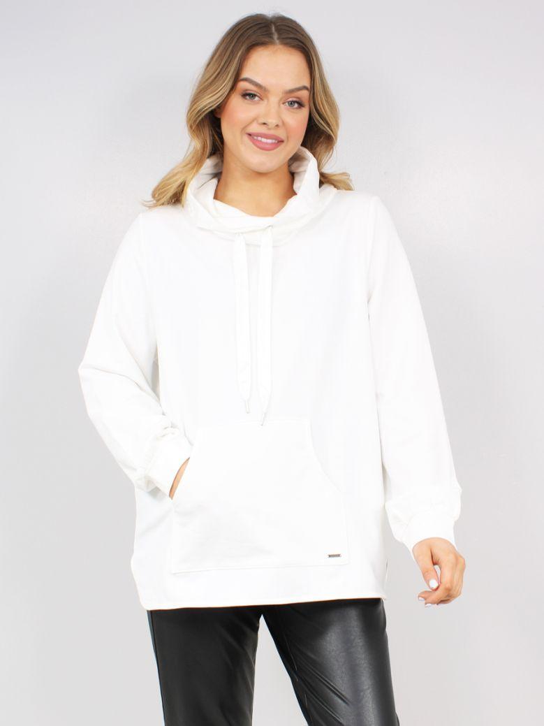 Samoon Ladies White Sweatshirt with Chiffon Details