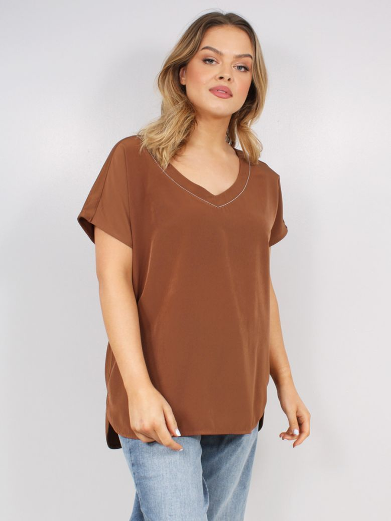 Samoon Ladies Brown Blouse Top with a V-Neckline