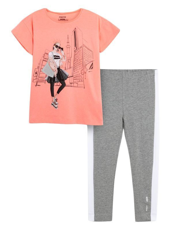 Mayoral Pink and Grey City Print T-Shirt and Leggings Set