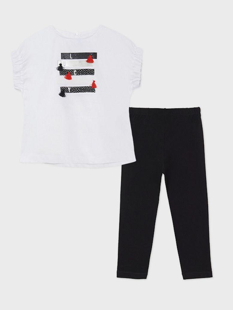Mayoral White Print T-Shirt With Black Leggings
