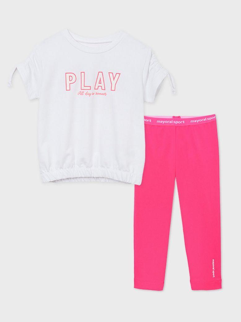 Mayoral White S/S T-shirt & Pink Legging Set