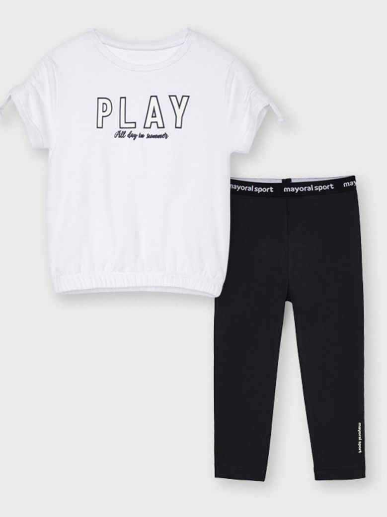Mayoral White S/S T-shirt & Black Legging Set