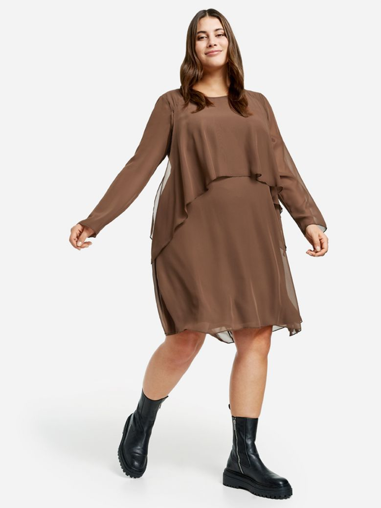 Samoon Brown Chiffon Dress in a Layered Look