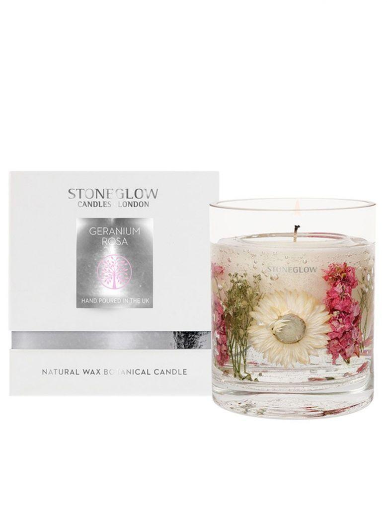 Stoneglow Nature's Gift Geranium Rosa Natural Wax Gel Candle Vase