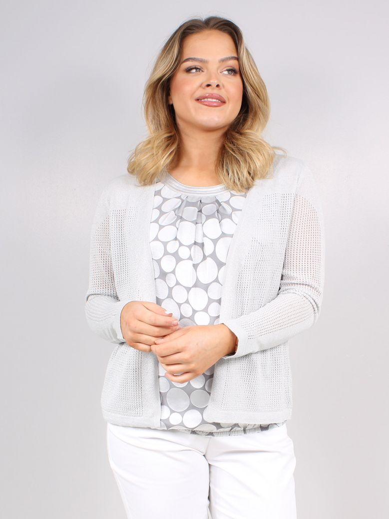 Bianca Grey Fine Knit Cardigan