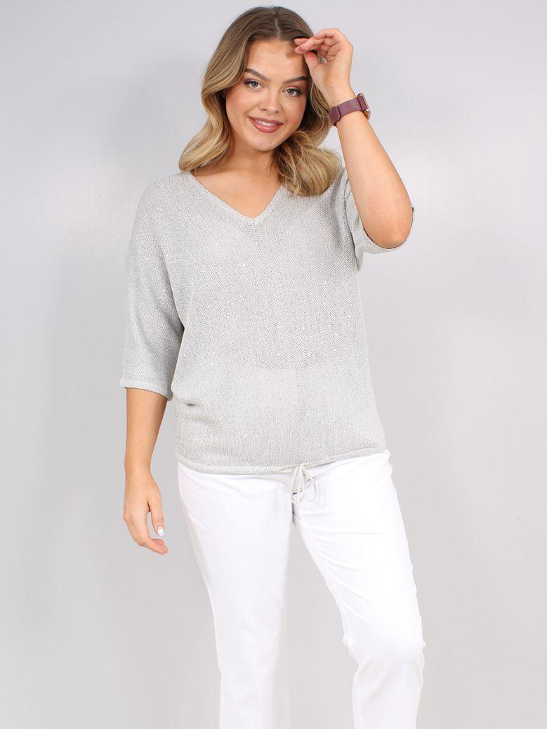 Bianca Ladies Silver Grey Lurex Knit Top