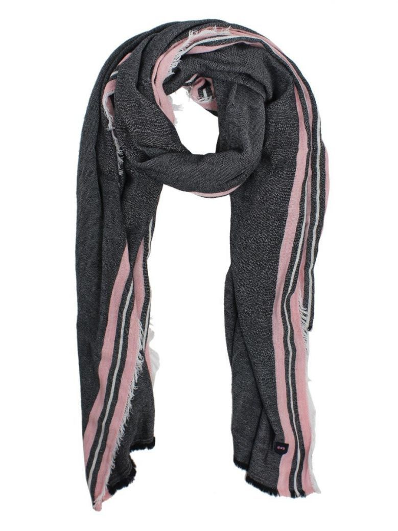Eden Park Pink, White And Navy Frayed Edge Scarf