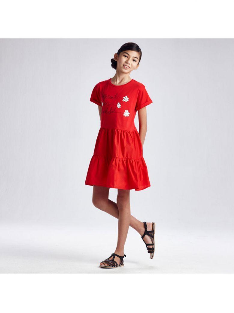 Mayoral Poppy Red Jersey Dress for Older Girls