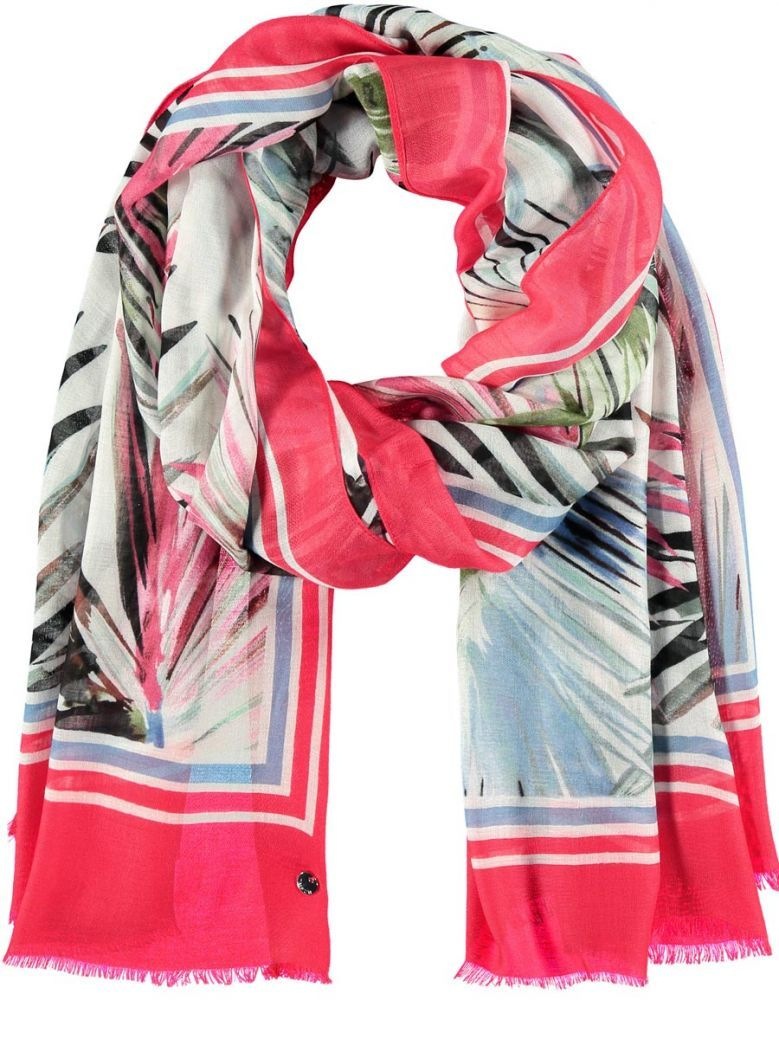 Taifun Ladies Red Scarf with Exotic Print