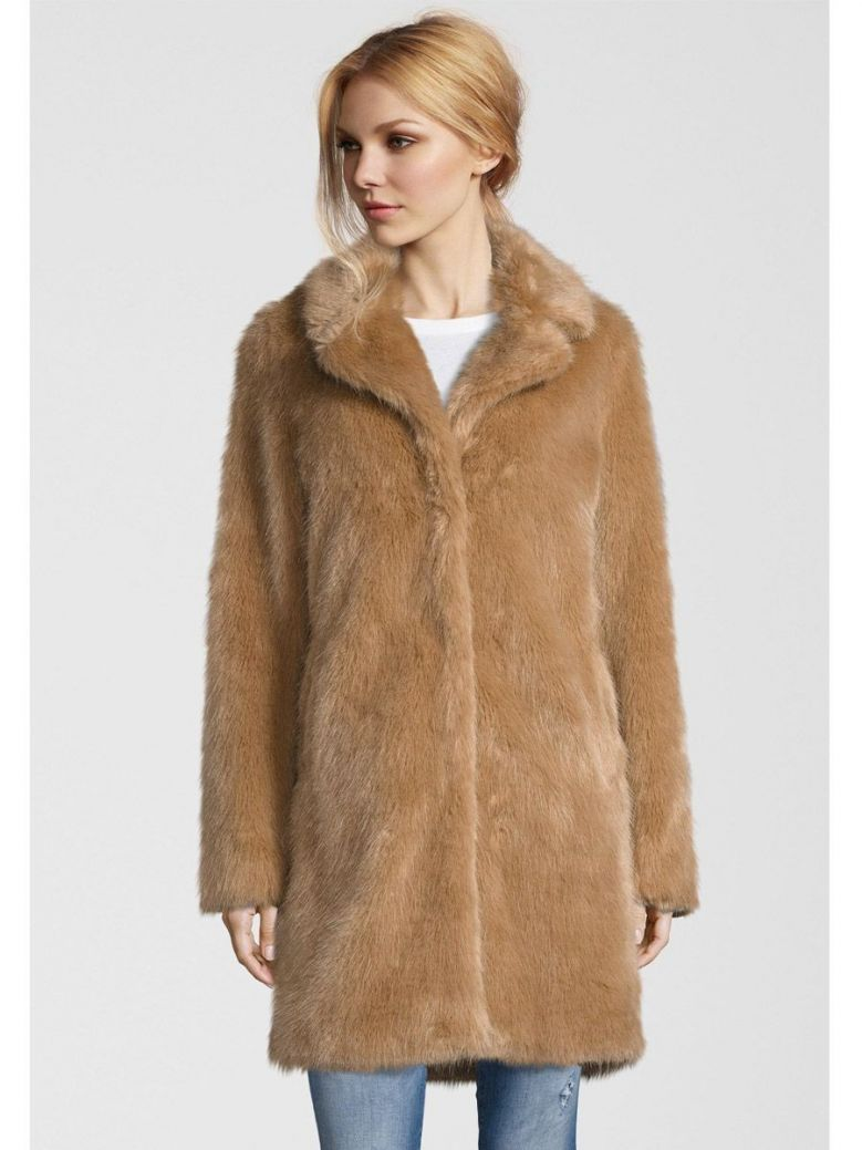 Rino & Pelle Taupe Paxton Faux Fur Coat