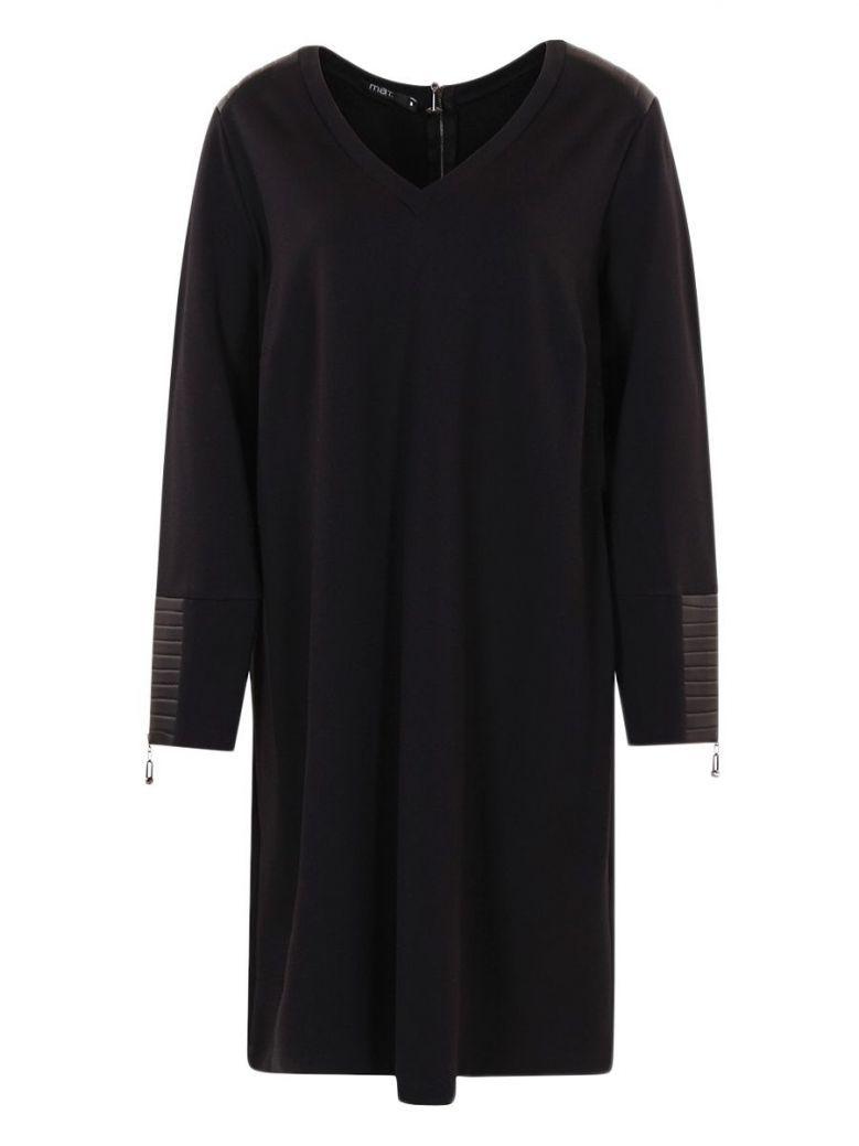 Mat Black Leather-Look Detailing Tunic Dress
