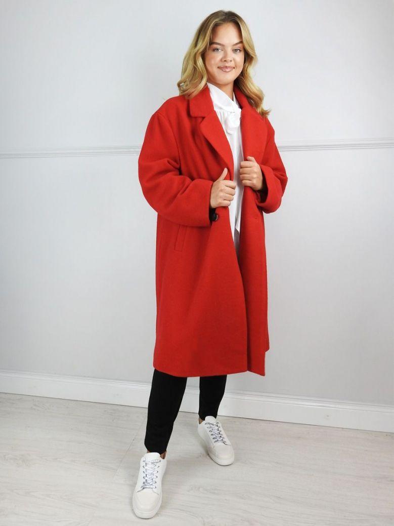 Mat Red Wool Blend Coat