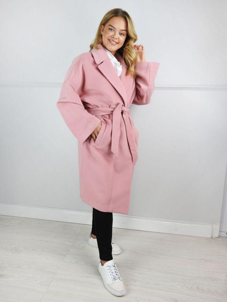 Mat Blush Pink Wool Blend Belted Coat