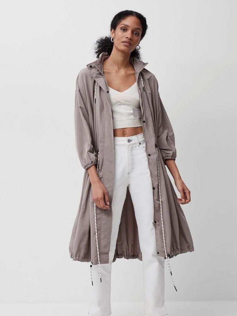 French Connection Walnut Aroni Nylon Hooded Coat