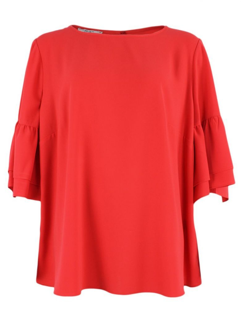 Mat Red Bell Sleeve Blouse