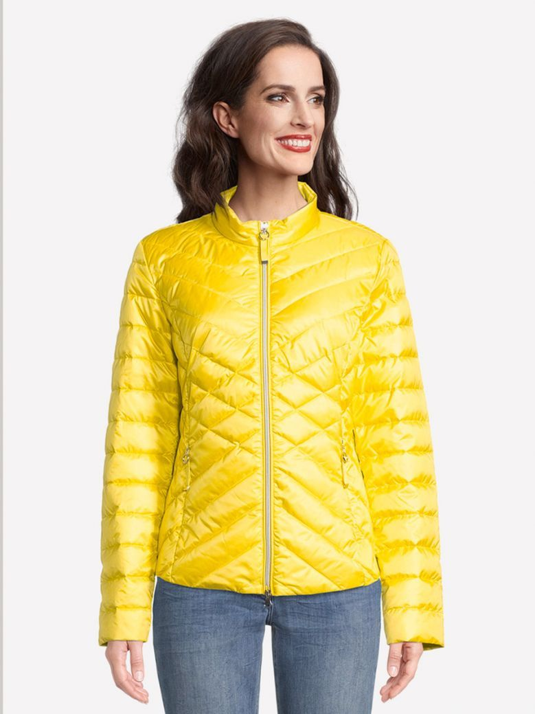 Betty Barclay Yellow Quilted Jacket with Stand-Up Collar