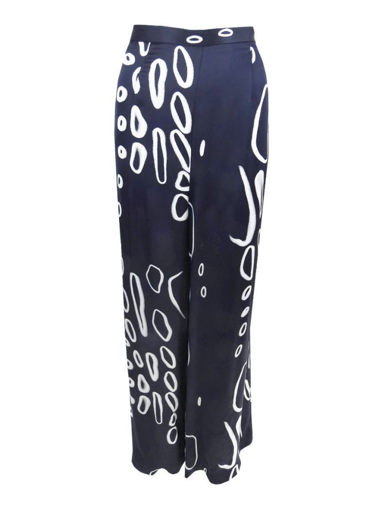 Tia Navy Abstract Print Wide Leg Trousers