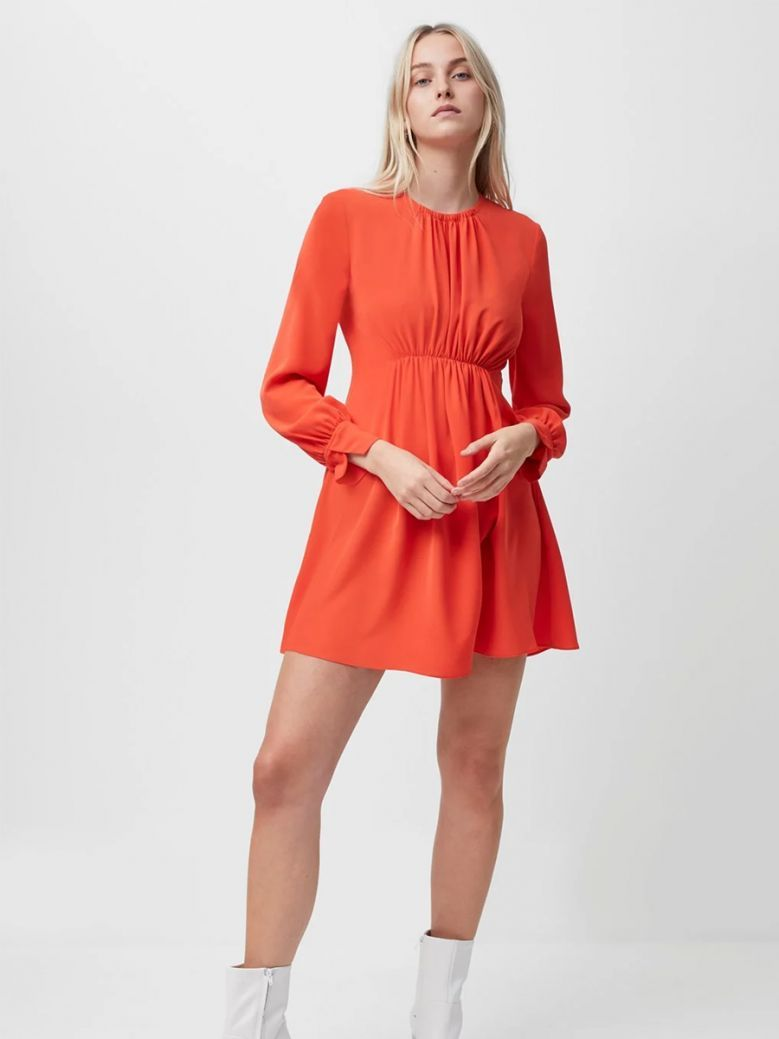 French Connection Fiery Red Emmy Crepe Long Sleeve Dress
