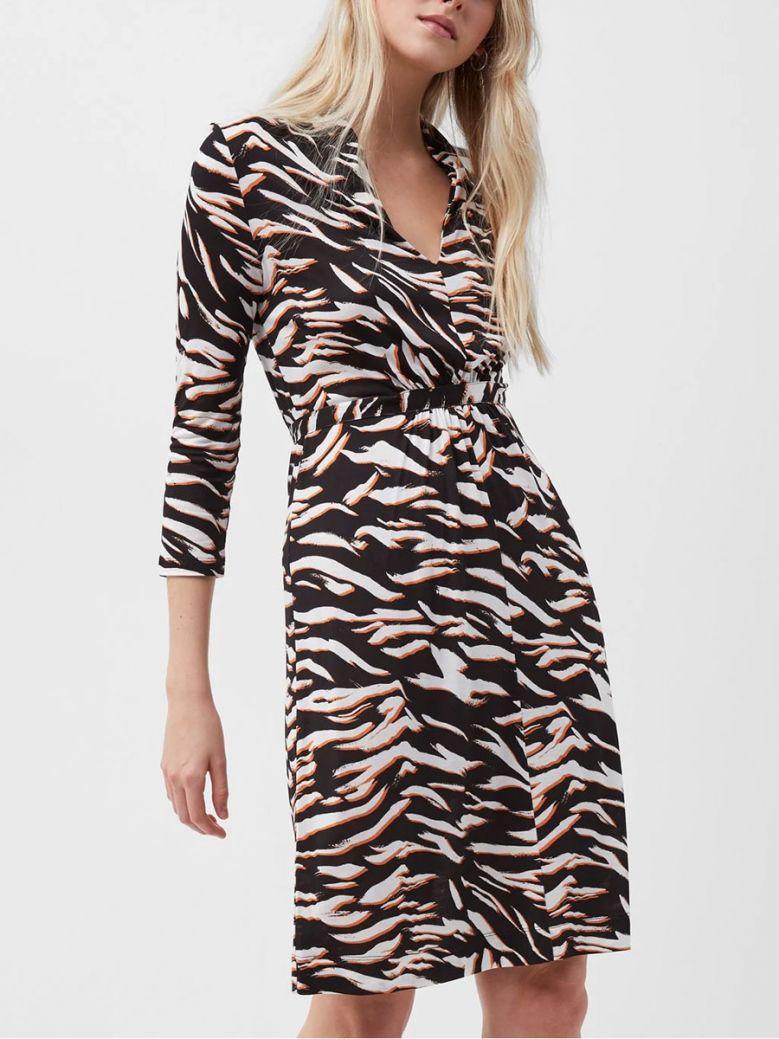 French Connection Black Thita Tiger Print Jersey Dress
