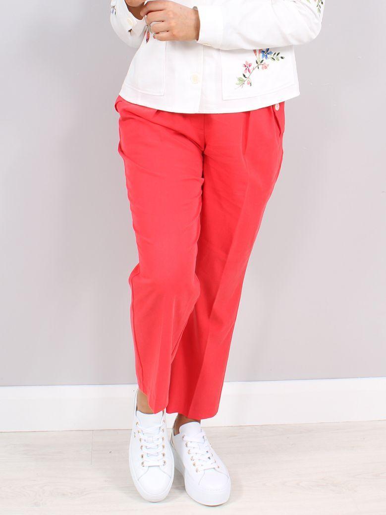 Taifun Red 3/4-Length Straight Waist-Pleat Trousers