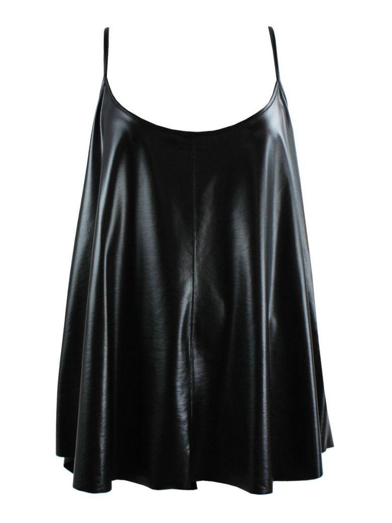 Mat Black Faux Leather Cami Top