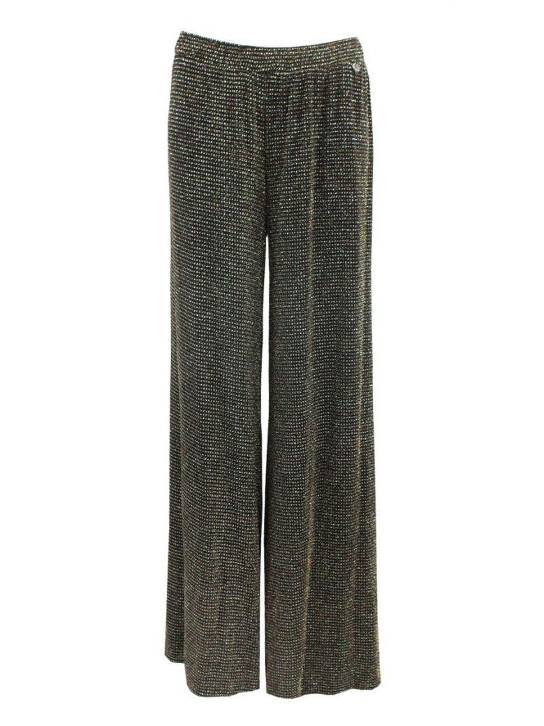 Mat Black Glitter Trousers