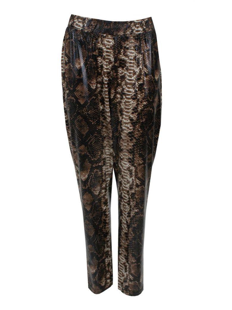 Mat Brown Snakeskin Print Leggings