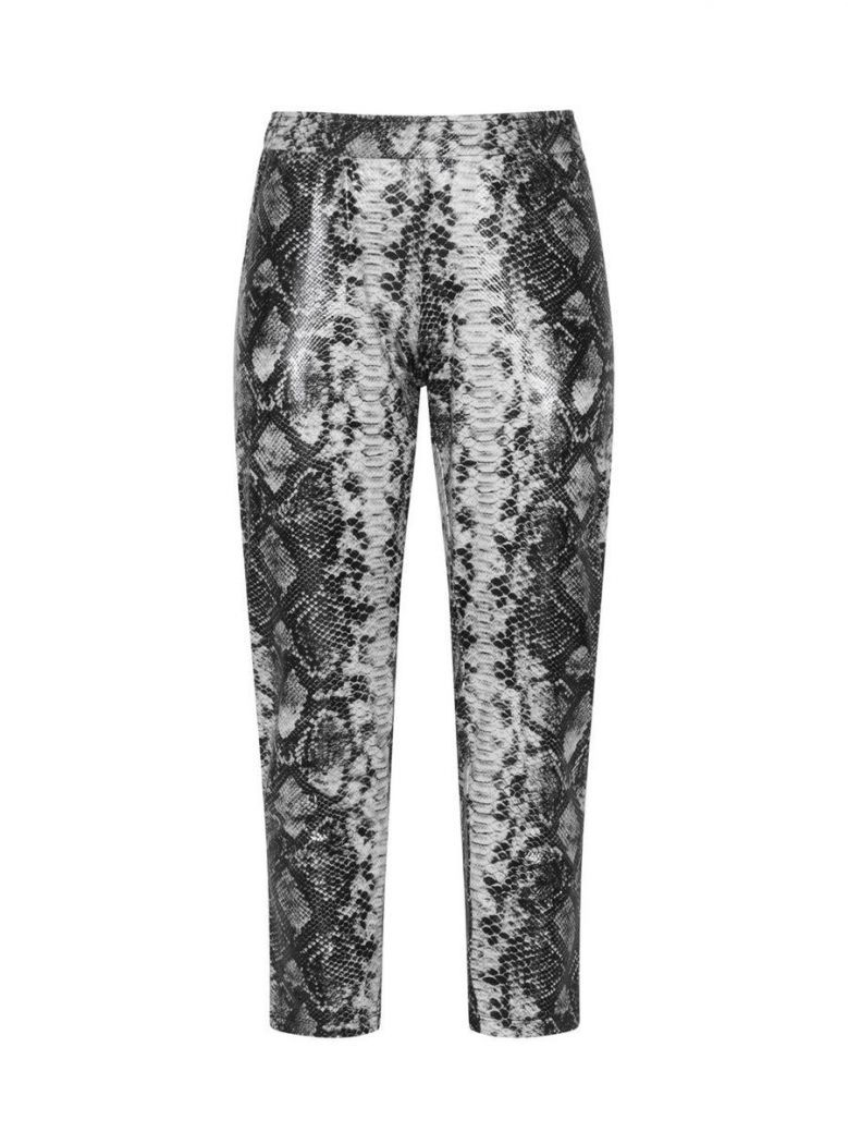 Mat Grey Snakeskin Print Leggings