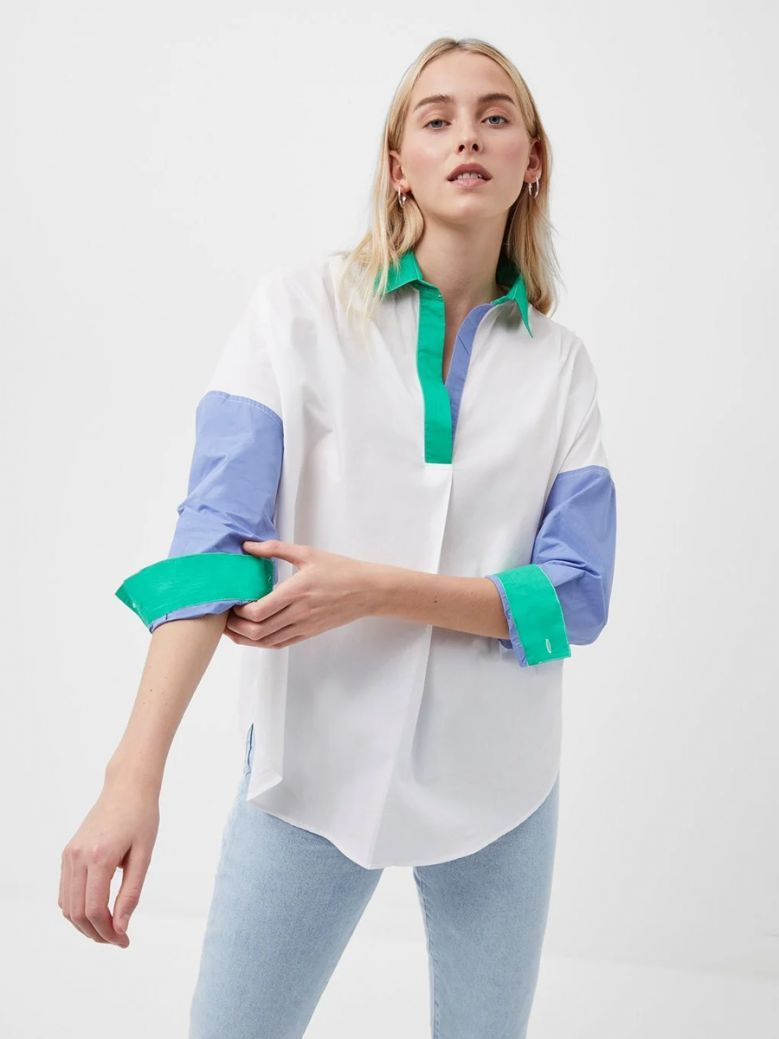 French Connection Summer White Ceises Rhodes Colour Block Shirt